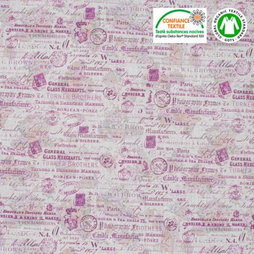 Coton bio écru motif writing provence lavande Oeko-tex