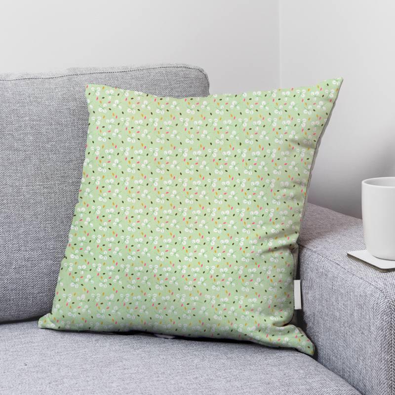 Coton vert tilleul motif feuille bulhup Oeko-tex
