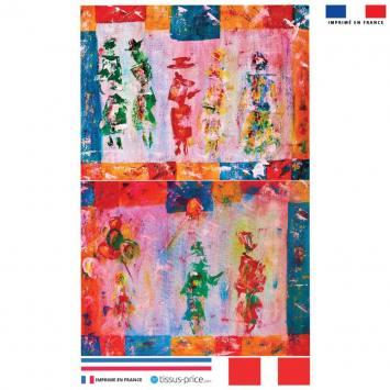 Kit pochette multicolore motif silhouettes effet peinture - Création Anne Gillard