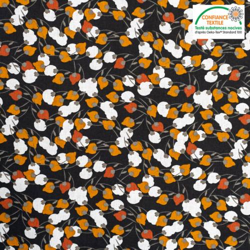 Coton charbon motif kisnek rouille Oeko-tex