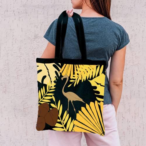 Coupon 45x45 cm noir motif flamingo exotique - Création Marie-Eva