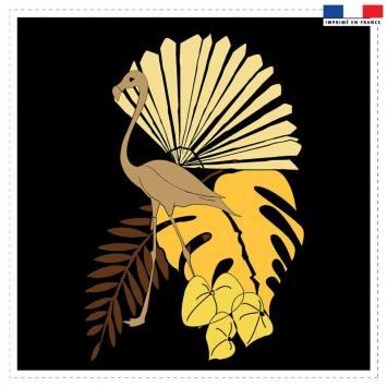 Coupon 45x45 cm noir motif flamingo et palme - Création Marie-Eva