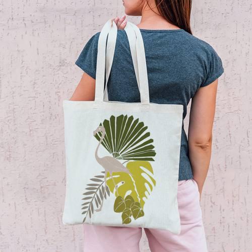 Coupon 45x45 cm vert motif flamingo et palme - Création Marie-Eva