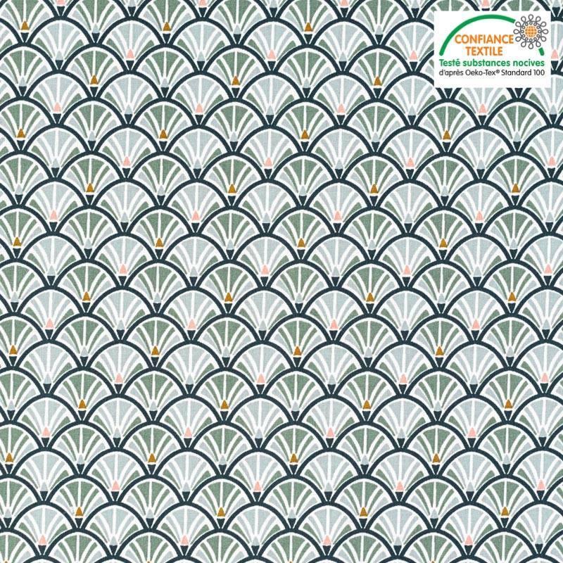 Coton charbon motif écaille jacinthe Oeko-tex