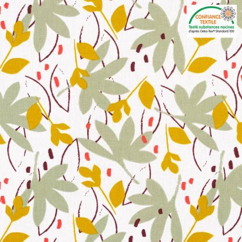 Coton blanc motif feuilles ydori vert sauge et ocre Oeko-tex
