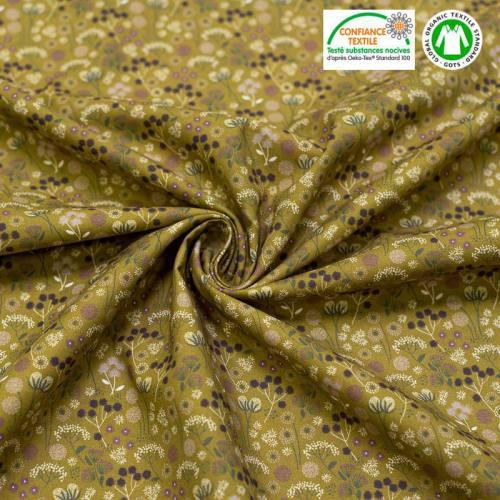 Coton bio vert kaki imprimé fleurs des champs Oeko-tex