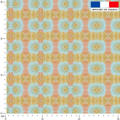 Soleils symétriques - Fond bleu - Création Lita Blanc