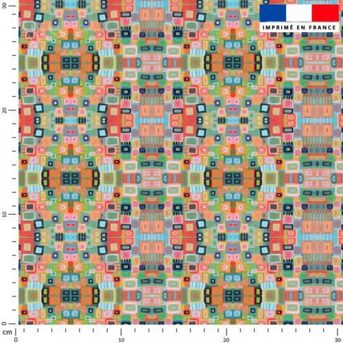 Petites formes rectangulaires saumon - Fond bleu - Création Lita Blanc