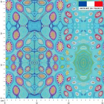 Forme abstraite rose - Fond bleu - Création Lita Blanc