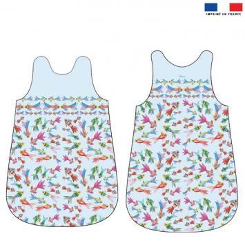 Coupon velours d'habillement pour gigoteuse motif peces colores - Création Lita Blanc