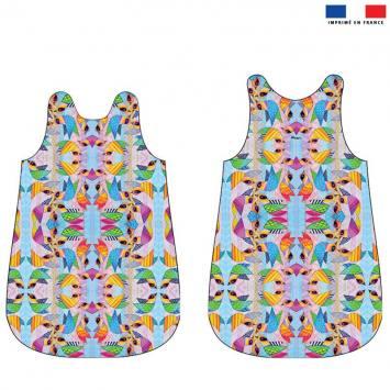 Coupon velours d'habillement pour gigoteuse motif pajaros grande multicolores- Création Lita Blanc