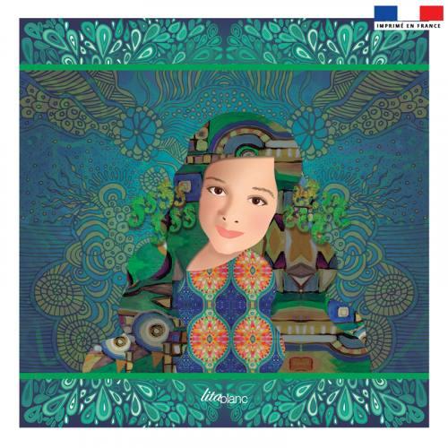 Coupon 45x45 cm vert motif diva - Création Lita Blanc
