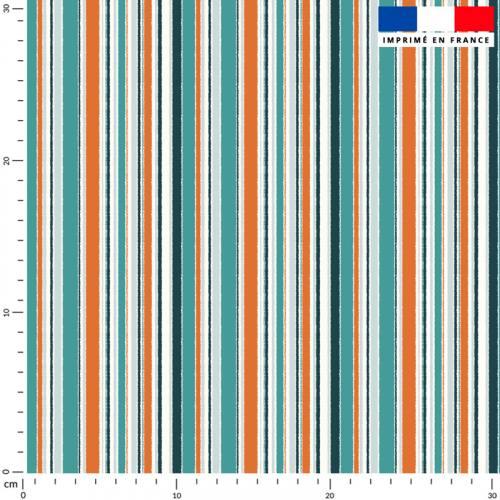 Tissu imperméable écru motif rayure fine orange et bleue