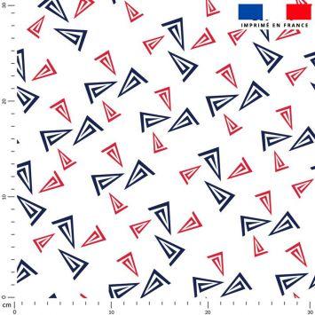 Tissu imperméable écru motif bateau bleu et rouge