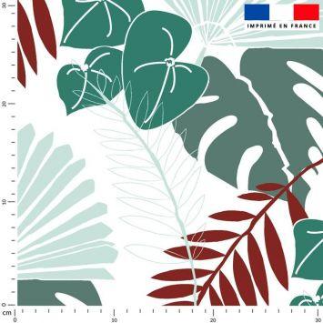 Tissu imperméable écru motif palme exotique bleu canard - Création Marie-Eva