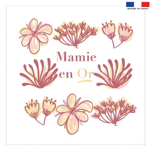 Coupon 45x45 cm motif mamie en or