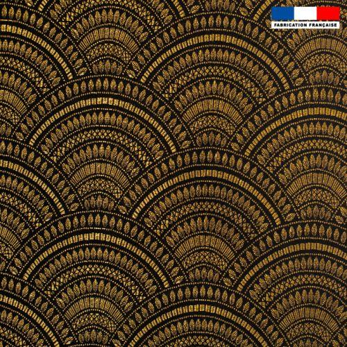 Jacquard noir motif éventail art déco doré