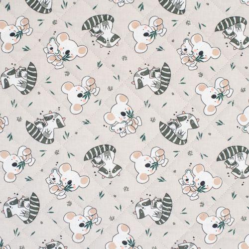 Tissu matelassé enfant lin réversible motif familles koala et raton laveur Oeko-tex