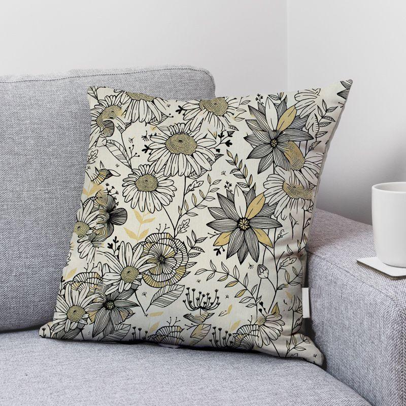 Coupon 50x68 cm - Toile coton écrue imprimée fleurs blanches et dorées Oeko tex