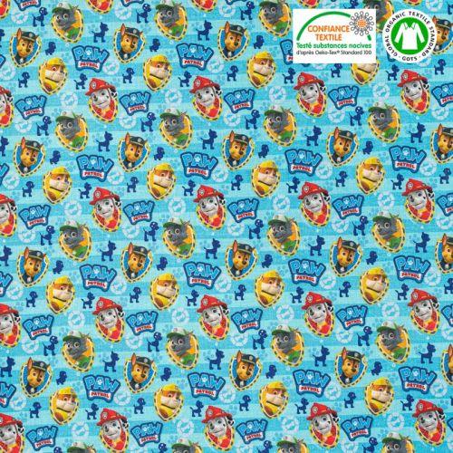 Coton bio bleu motif La Pat'Patrouille Oeko-tex