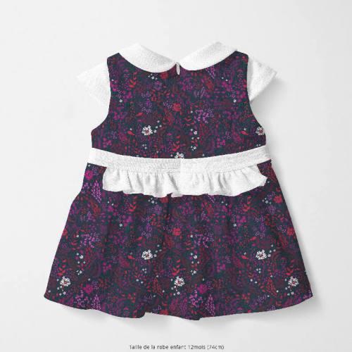 coupon - Coupon 60cm - Coton bleu motif fleurs champêtres prunes rouges