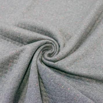 Jersey matelassé gris chiné multicolore