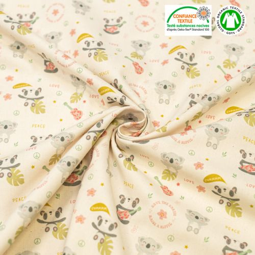 Coton bio naturel motif panda et koala love Oeko-tex