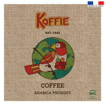 Coupon 45x45 cm motif coffee effet toile de jute