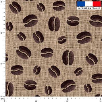 Tissu imperméable effet toile de jute motif grain de café