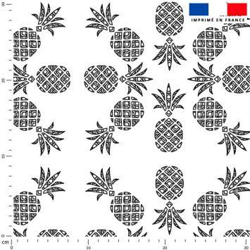 Tissu imperméable écru motif ananas tropical noir