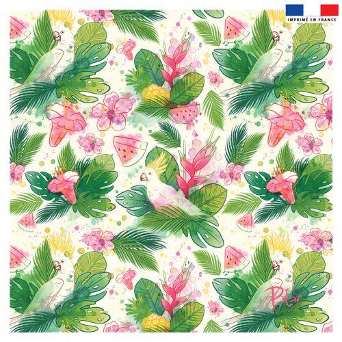 Coupon 45x45 cm crème motif pastèque et feuille exotique - Création Pilar Berrio