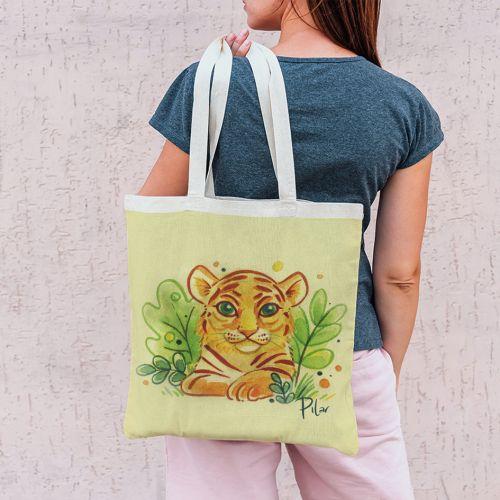 Coupon 45x45 cm jaune flave motif lionceau - Création Pilar Berrio