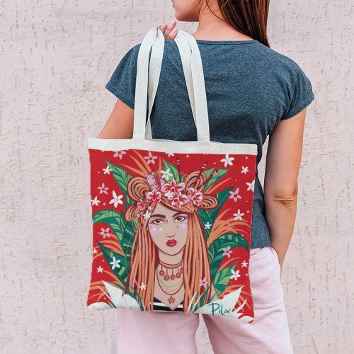 Coupon 45x45 cm rouge motif girl et couronne de fleurs - Création Pilar Berrio