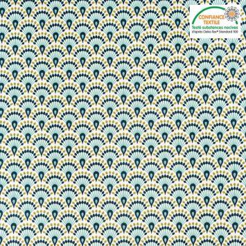 Toile coton blanche imprimée éventail bleu nuit zadani Oeko-tex