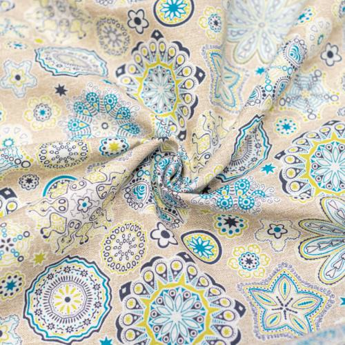 coupon - Coupon 84cm - Toile polycoton grande largeur imprimée fleur verte et bleue Oeko-tex
