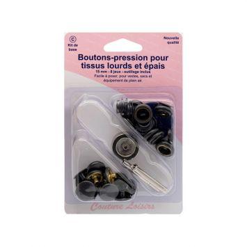 Kit de base boutons pression et outils de pose pour tissus lourds et épais - Noir x8