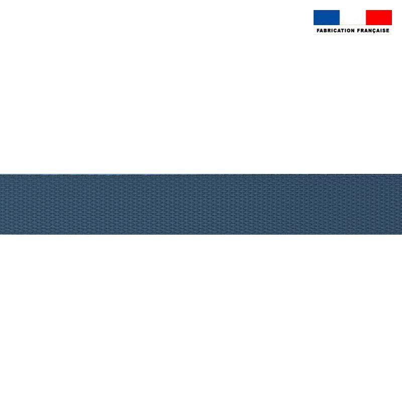 Sangle polyester aspect coton 30mm bleu