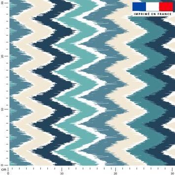 Tissu imperméable bleu motif chevron bleu et vert
