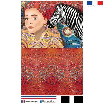Kit pochette jaune motif diva et zèbre - Création Lita Blanc