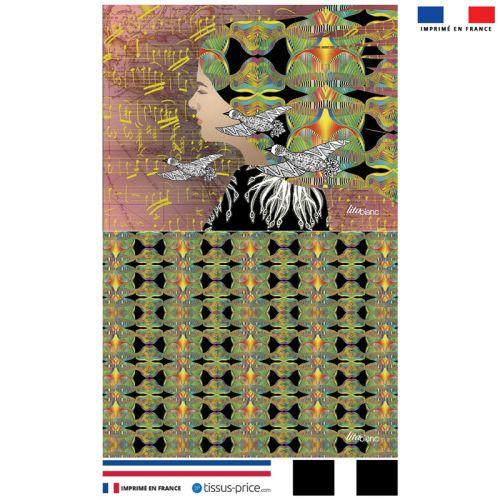 Kit pochette rosé motif diva et oiseaux - Création Lita Blanc