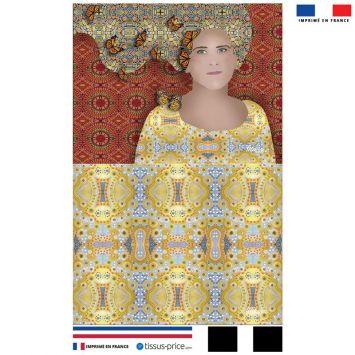 Kit pochette rouge motif diva et papillons jaunes - Création Lita Blanc