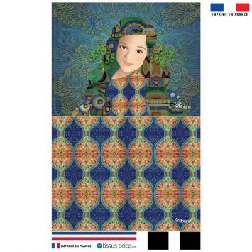 Kit pochette bleu motif diva et hippocampes - Création Lita Blanc