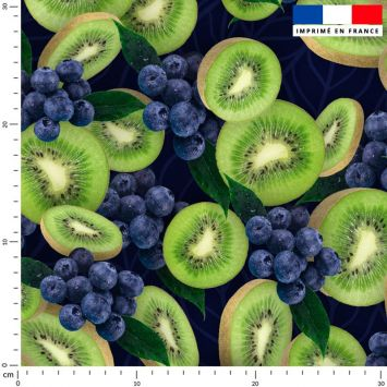 Tissu imperméable noir motif kiwi et raisin