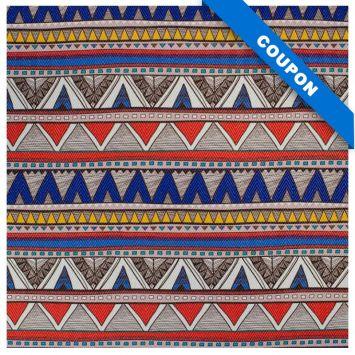 Coupon 50x68 cm - Simili cuir multicolore motif chevrons bleus