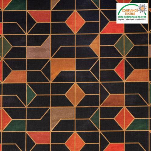 Coton noir motif géométrique rouge vert et camel dinka Oeko-tex