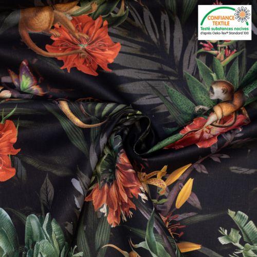 Coton noir motif jungle et lys dinka Oeko-tex