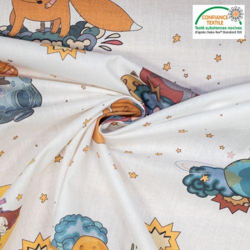 Coton blanc motif Le Petit Prince et le renard Oeko-tex