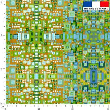 Petits rectangles verts - Fond orange - Création Lita Blanc