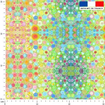 Ronds multicolores - Fond vert - Création Lita Blanc