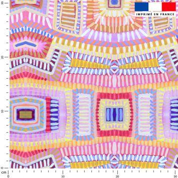 Formes abstraites géométriques colorées effet peinture - Fond rose - Création Lita Blanc